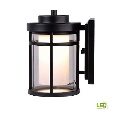 Outdoor Home Exterior Black LED Small Wall Mounted Area Lantern Lighting Fixture