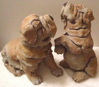"Vtg Pair Large Shar Pei Dog Resin Figurine 8"" Standing & Sitting Puppy Sculpture"