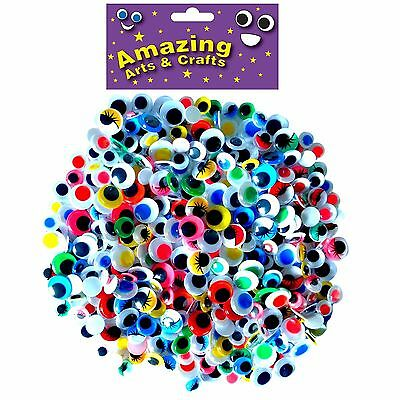 400 Self Adhesive wiggle wiggly googly sticky eyes assorted types and sizes