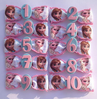 Frozen Anna Elsa Birthday Badge Age Number Hair Bow Ribbon Girls Alligator Clip