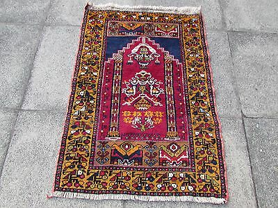 Old Hand Made Turkish Oriental Rug Yellow Red Wool Small Prayer Rug 117x81cm