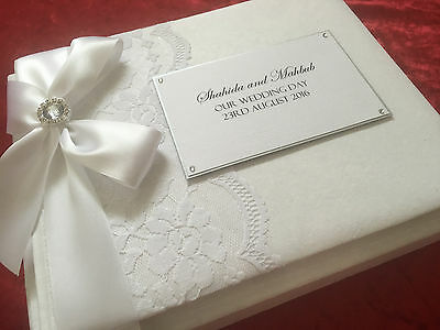 Wedding Engagement Guest Book Large Personalised Lace Vintage Diamond Boxed