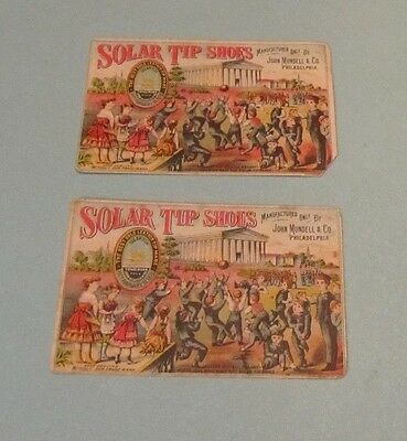 1880's Solar Tip Shoes Boys Playing Ball Victorian Trade Card Lot Girard College