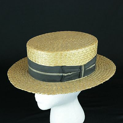 Vintage 1920s Men's Boater Skimmer Flat Brim Straw Hat with Band Made by Pilgrim