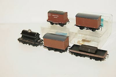 N gauge MODIFIED 5x Graham Farish Peco BR Brown Van Conflat Flat Wagon