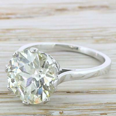ART DECO 4.12ct OLD EUROPEAN CUT DIAMOND ENGAGEMENT RING - 18k - French, c. 1935