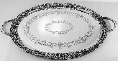 S. Kirk & Son Magnificent Hand Decorated Sterling Silver Tray with Handles