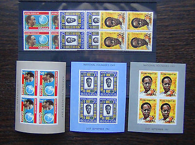 Ghana 1961 Founders day set in blocks x 4 plus Miniature sheet MNH