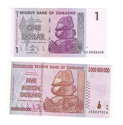 2007,2008 Zimbabwe 1 Dollar and 5 Billion  banknotes get both for $19.97