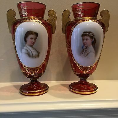 Mated Pair Of Bohemian Ruby Glass Cameo Portrait Vases