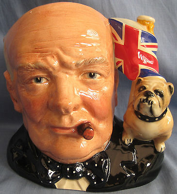 Royal Doulton Jug WINSTON CHURCHILL D6907 - JUG OF YEAR 1992 - WITH CERTIFICATE