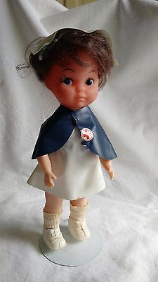 Plastic Nurse Doll with Blue Cape 8.5 Inches with Stand