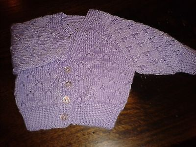 Newborn Babies Mauve/ Lilac/ Purple Handknitted Lace Cardigan. Size 000.