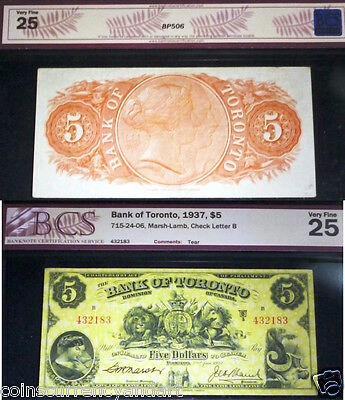 1937 $5 Bank Of Toronto - Just Beautiful!!   Lovely Banknote