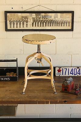 Vintage Industrial Toledo Uhl Draftsman Stool Machine Age Chair Chippy 1930s