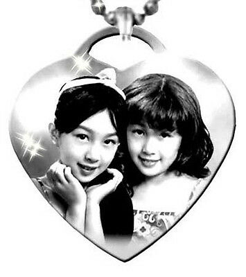Personalised Photo Engraved 38mmx38mm Heart Shape Pendant, Stainless steel