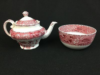 Copeland Spode Camilla Small Teapot Rice or Cranberry Bowl Pink Red Old Mark