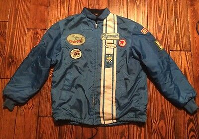 Vintage Plymouth Rapid Transit System Racing Jacket Mopar Vintage Patches MED