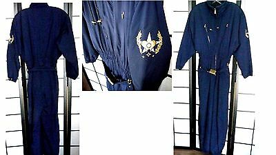 Bogner One Piece Skitac Snow Ski Suit Navy Blue Sz 10 Long + Belt + Embroidered