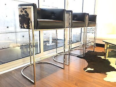 Set Of  3 Chrome Cantilever Counter Bar Stools Cowhide & Black Leather