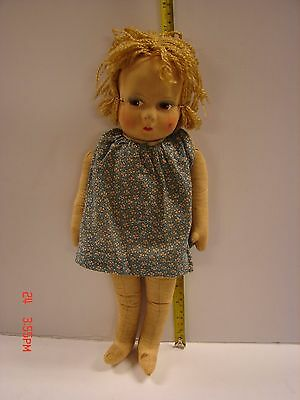 Vintage Stuffed Cloth Stockinette Type Doll Painted Pace Brown Eyes 17 Inches