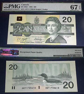 Highest PMG Grade ,1991 AWY $20 , Bank of Canada PMG 67