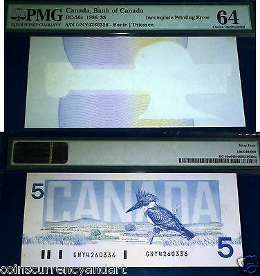 Error, Incomplete Printing . Bank Of Canada $ 5 1986 Pmg 64 Choice Unc. Rare