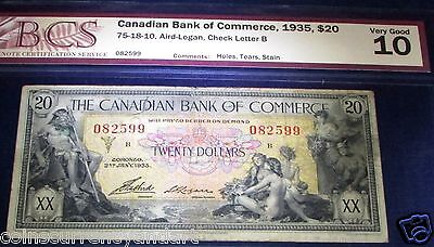 SEAMAIDENS & MYTHOLOGY SCARCER BANKNOTE .$20 1935 Canadian Bank of Commerce