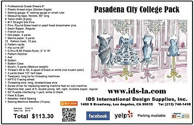 Pasadena City College Pack - Tools for fashion design students, rulers, pins etc