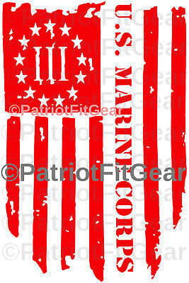 USMC,Marines,3%,Threeper,Semper Fi,Marine Corps,Flag,Military,USA,Vinyl Decal