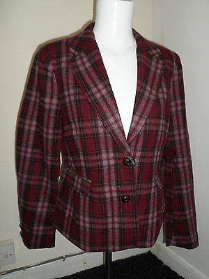 Womans Ladies Wool Blend Check Jacket Blazer Fully Lined Semi Fitted