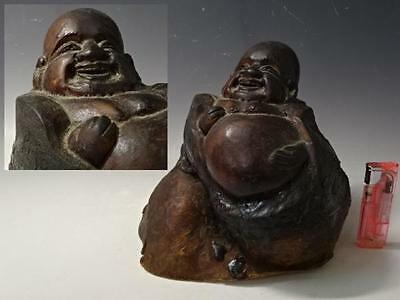 Japanese Antique Carved Natural Wood Statue Hotei Buddha Monk Luckygod Budei Min