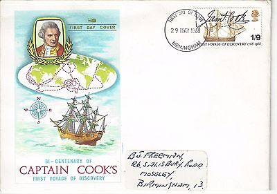 First Day Cover 2 May 1968 Captain Cook  Christmas Birmingham postmark