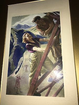 Superb Framed Art Deco Print Depicting a Working Man & Woman in Mountain Resort