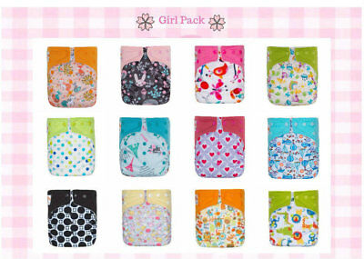 12 KaWaii Baby One Size Aplix Bamboo Cloth Diaper + 24 Bamboo Inserts