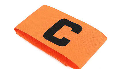 Captains Armband ORANGE Football Rugby Hockey Sports Velcro YOUTH - ADULT SIZE