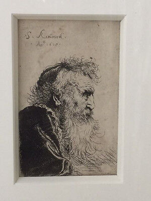 """Salomon de Koninck etching """"The Old Philosopher"""" signed and dated 1628"""