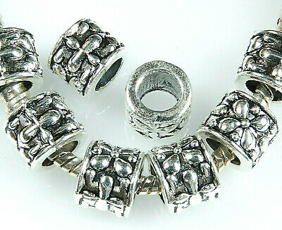 ANTIQUE SILVER~TUBE~TIBETAN STYLE~SPACER BEADS~9.5 x 8 MM ~ 5 MM HOLE