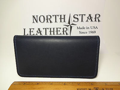 North Star Navy Smooth Leather Standard Checkbook Cover-Second-Made In USA#132