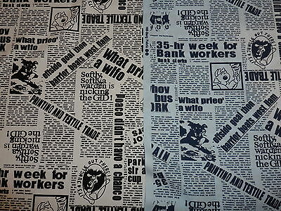 NEWSPAPER PRINT 100% Cotton Fabric Material by HALF METRE