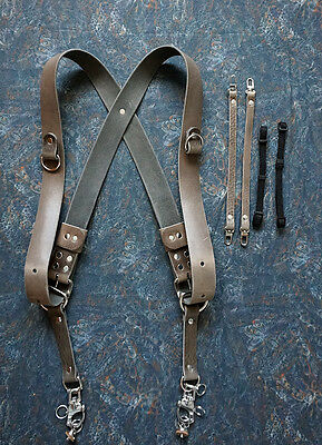 Dual Camera Harness Multicamera Shoulder Strap Leather Camera Harness - Grey