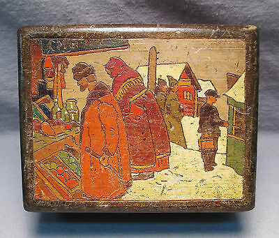 Antique Russian Folk Art Painted Carved Wooden Box Arts & Crafts Period