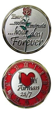 U.S. Air Force I Love My Airman 24/7 with Rose Challenge Coin