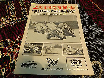1991 Brands Hatch Programme 7/4/91 - Mcn Free Motor Cycle Race Day