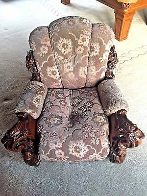 ANTIQUE French Walnut Rococo style Heavy Carved ornate chair sofa single piece