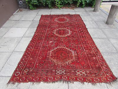 Old Shabby Chic Traditional Hand Made Afghan Oriental Red Carpet 314x166cm
