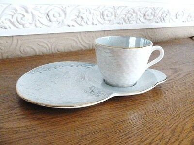 Vintage Maling Lustre Tennis Set Cup and Saucer (Silver Blue/Cream)