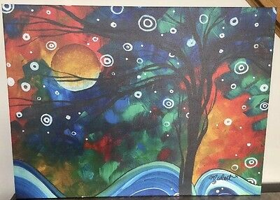 New! Moon Snow Forest Magical Canvas Art Baby Nursery Kids Room Ready To Hang