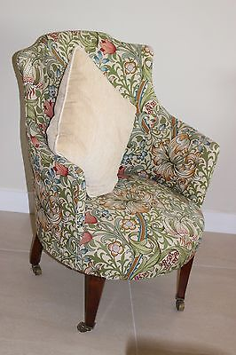 Antique upholstered tub chair, William Morris design, collect IP14 Suffolk