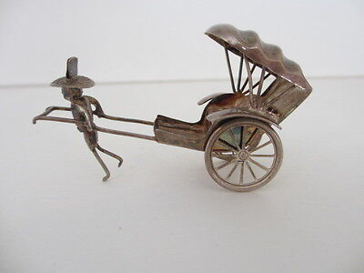 Vintage Sterling Silver Chinese Rickshaw Cart Puller Miniature Figurine